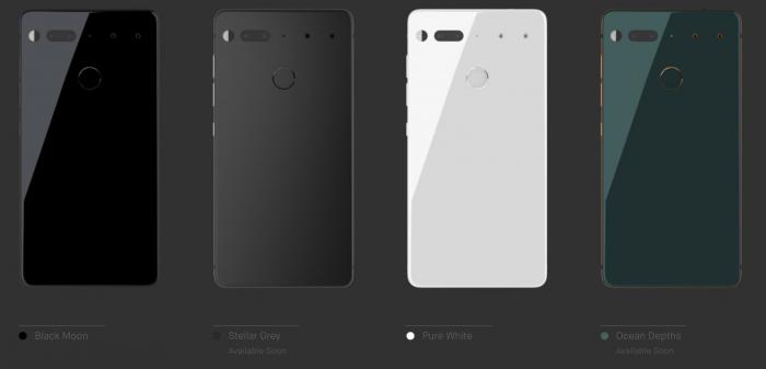 Essential-puhelimen eri värivaihtoehdot.