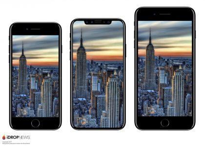 iPhone 7:n ja iPhone 7 Plussan välissä huhuttu uusi huippu-iPhone iDrop Newsin kuvassa.