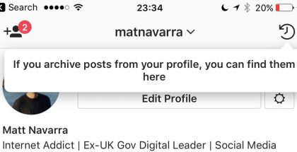 Instagram sai arkistointimahdollisuuden.