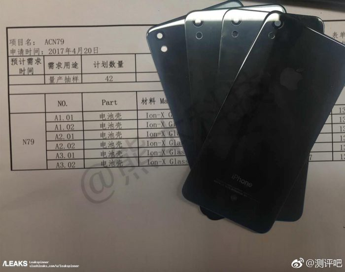 Väitetty iPhone SE:n seuraajan lasinen takapaneeli.