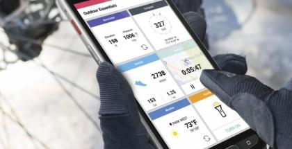 Sivupainike avaa LG X venturessa Outdoor Essentials -valikon.