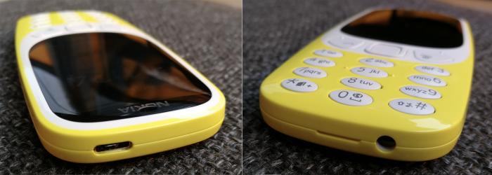 Myös uuden 3310:n reunat ovat painikkeista vapaat. Ylhäältä löytyy Micro-USB-latausliitäntä ja pohjasta 3,5 millimetrin kuulokeliitäntä.