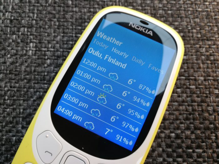 Nokia 3310:n sääsovellus.