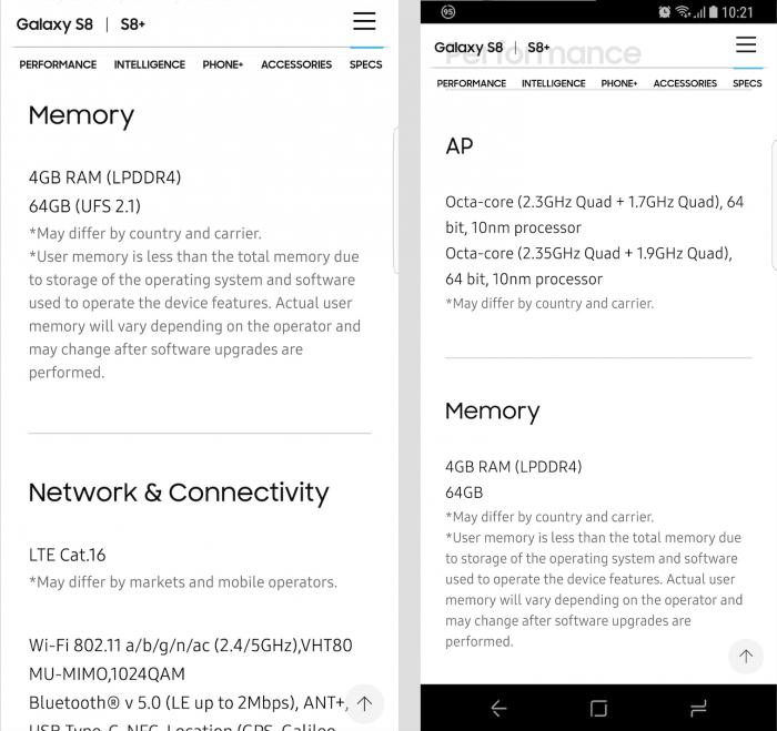 Samsung Galaxy S8:n tuotesivuilta on kadonnut viimeisen viikon aikana maininta UFS 2.1 -muisteista.