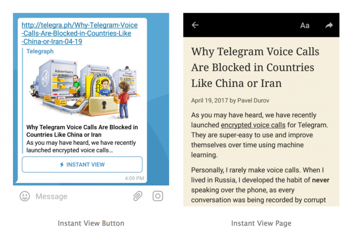 Telegram Instant Views.