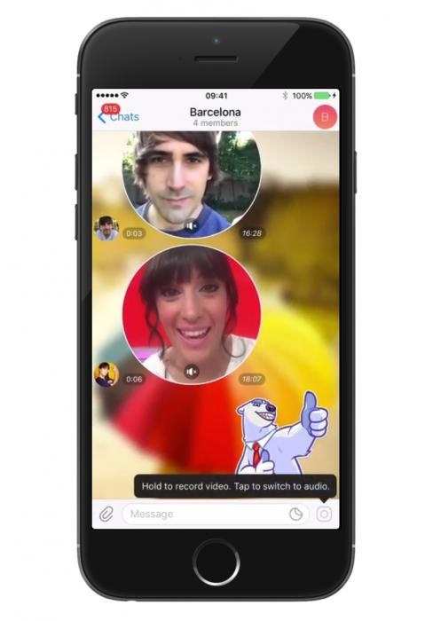 Telegram 4.0:n merkittävin uudistus ovat videoviestit.