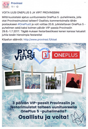 Provinssi arpoo OnePlus 5:n ja kaksi VIP-lippua.