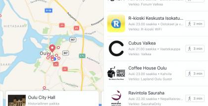 Facebook auttaa nyt löytymään Wi-Fi-verkkoja lähialueelta. Kuvassa Oulun keskustan tilanne.