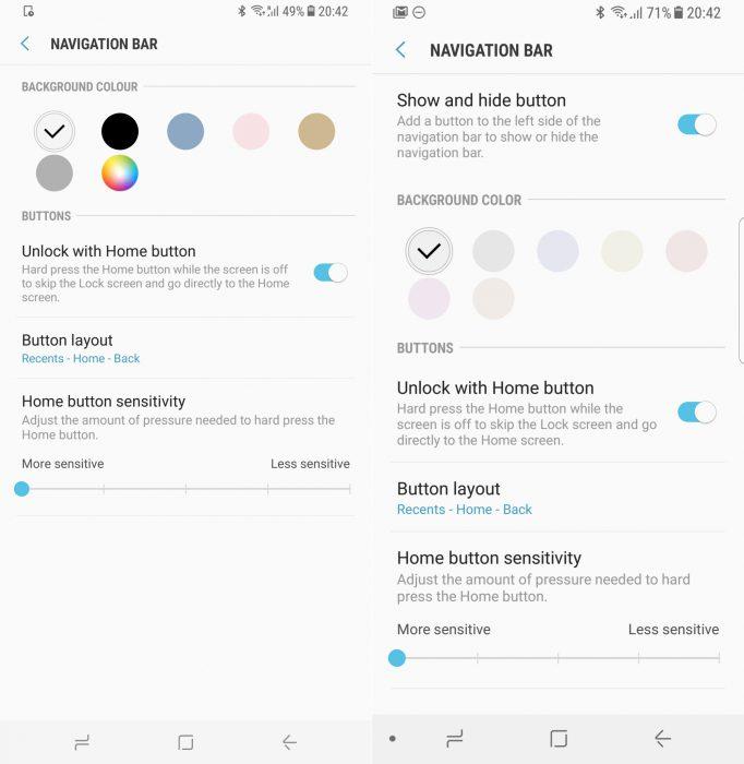 Galaxy S8:n tuorein päivitys supistaa navigointipalkin värivaihtoehtoja radikaalisti.