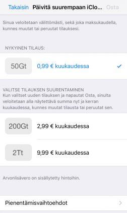 Applen nykyiset iCloud-vaihtoehdot.