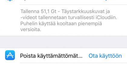 iOS 11 tekee ehdotuksia tallennustilan vapauttamiseksi asetuksissa.