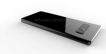 Samsung Galaxy Note8 aiemmin vuotaneessa OnLeaksin kuvassa yhteistyössä 91mobilesin kanssa.