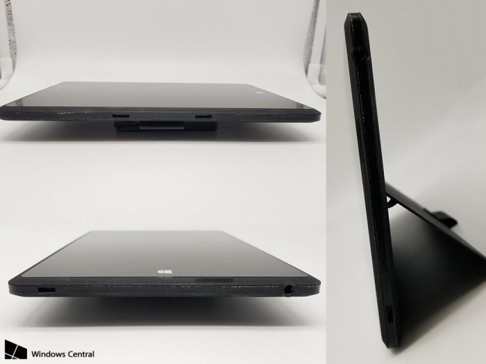 Surface Minissäkin oli avattava seisontatuki.