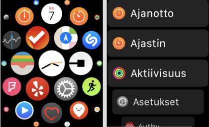watchOS 4:ssä on mahdollista valita sovelluskennon sijaan myös yksinkertainen lista.