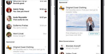 Mainokset tulevat näkyvästi osaksi Facebook Messengeriä.