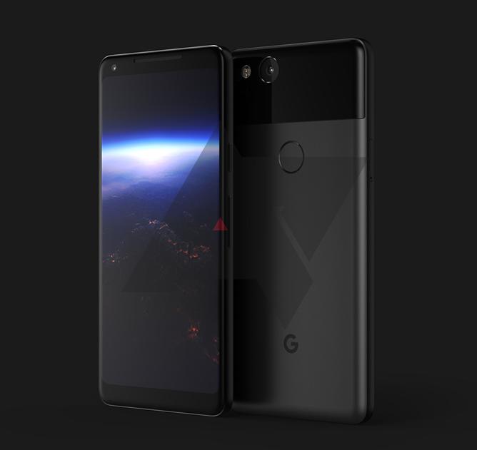 Googlen uusi suurempi Pixel XL 2. Android Policen aiemmin julkaisema kuva.