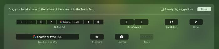Touch Barin sisältöä voi muokata myös Chromessa.