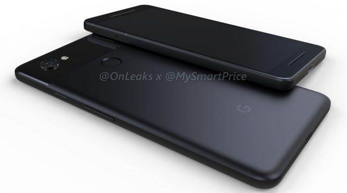 Googlen toisen sukupolven Pixel-puhelimet OnLeaksin yhdessä MySmartPricen kanssa julkaisemassa kuvassa.