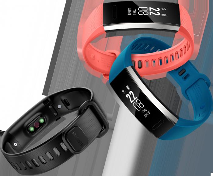 Huawei Band 2 -rannekkeiden kolme värivaihtoehtoa.