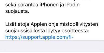 iOS 10.3.3 sisältää muun muassa useampia tietoturvakorjauksia.