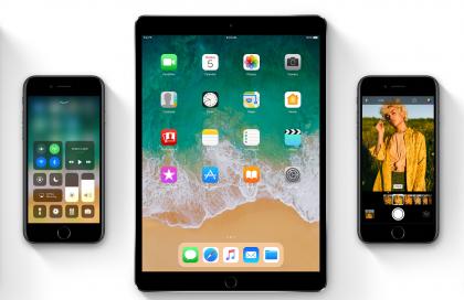 iOS 11:n uudistuksia, kuten täysin uudistunut ohjauskeskus, uusi Dock-kuvakerivi iPadilla sekä uusia kuvasuotimia.