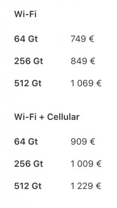 10,5 tuuman iPad Pron eri versioiden hinnat.