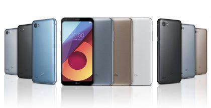 LQ:n Q6-puhelinmallisto. Vasemmalla Q6 Plus, keskellä Q6 ja oikealla Q6a eri värivaihtoehtoineen.