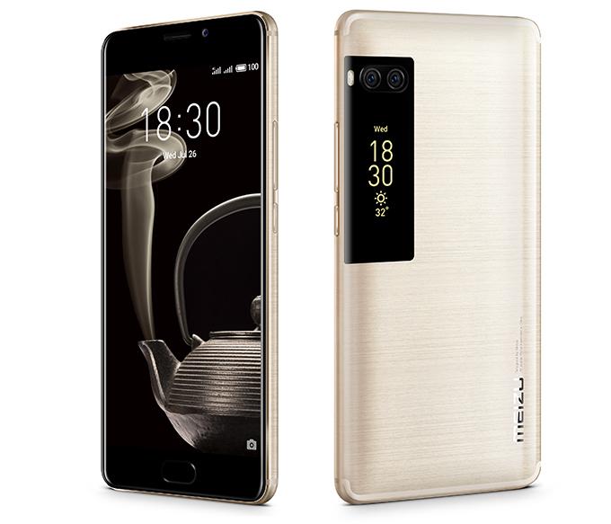 Meizu Pro 7 -puhelimissa on takana toinen pienikokoinen näyttö.