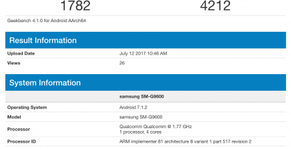 Samsung SM-G9600 GeekBenchissä.