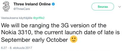 Operaattorin twiitti vahvistaa 3G-3310:n.