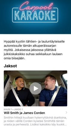 Carpool Karaoke on nyt Apple Musiikissa.