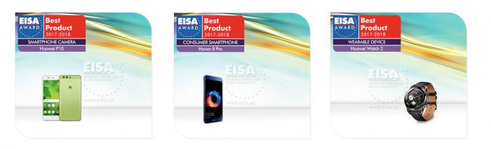 EISA palkitsi kolme Huawein mobiilituotetta.