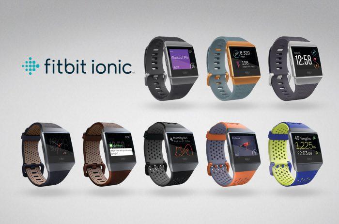 Ylärivissä kolme eri Ionic-vaihtoehtoa. Alarivissä vasemmalla nahkarannekkeet ja oikealla urheilurannekkeet, joita myydään erikseen.
