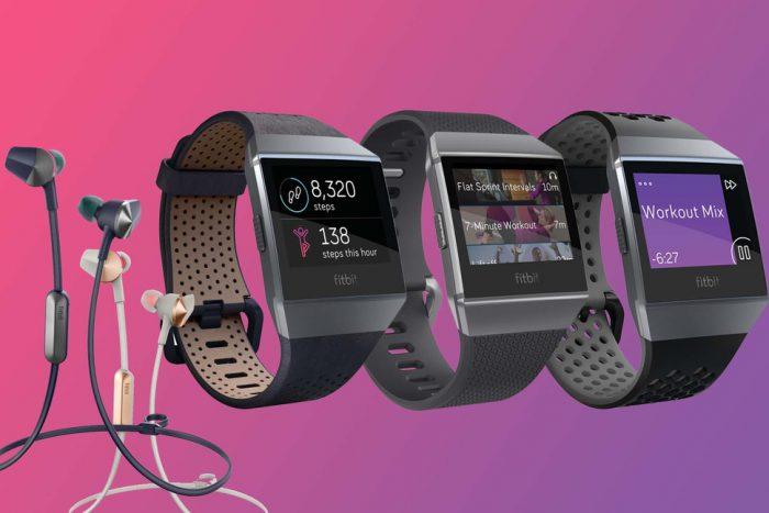 Fitbit Ionic -kello ja Fitbit Flyer -kuulokkeet.