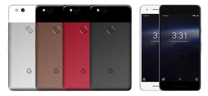 Google Pixel 2017 eri väreissä.
