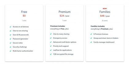 LastPassin eri käyttö- ja tilausvaihtoehdot.
