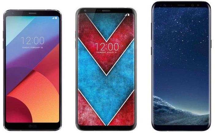 LG G6 vs. LG V30 vs. Samsung Galaxy S8+.