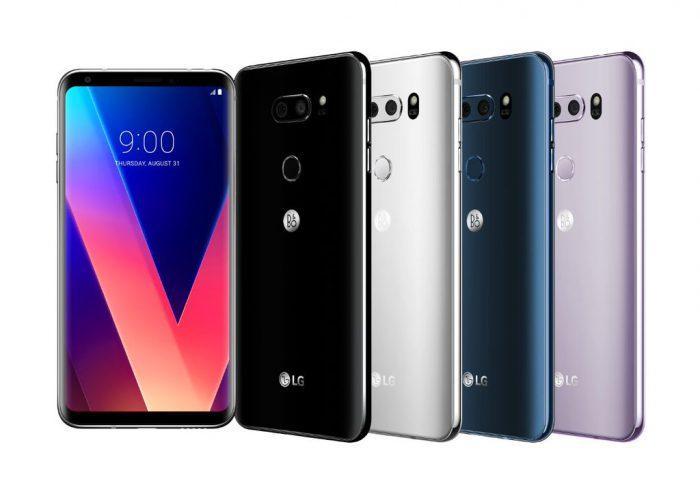 LG V30:n värivaihtoehdot.