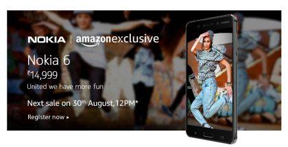 Nokia 6 Amazonin Intian sivuilla.