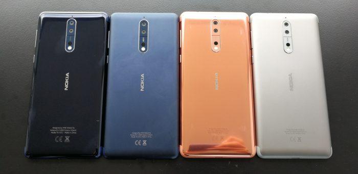 Nokia 8:n kaikki värivaihtoehdot.