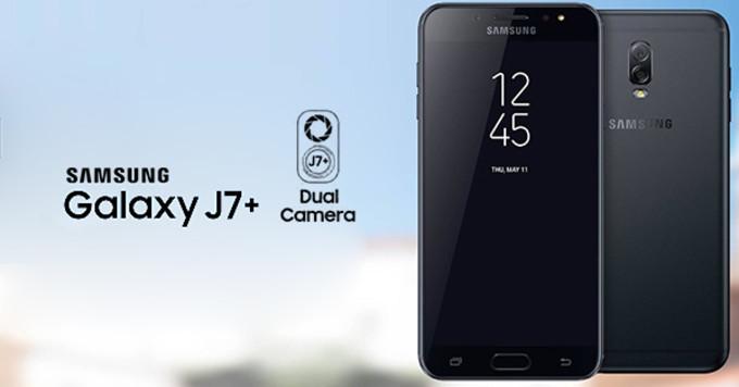 Samsung Galaxy J7+ sisältää kaksoiskameran.