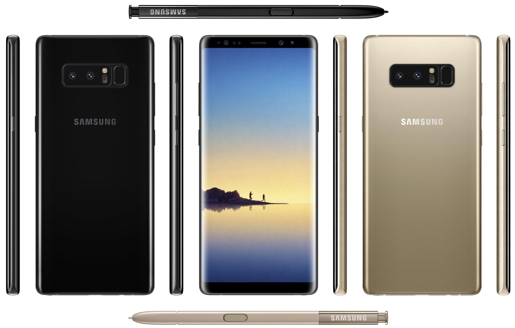 Samsung Galaxy Note8 Maple Gold ja Midnight Black. Evan Blassin aiemmin vuotama kuva.