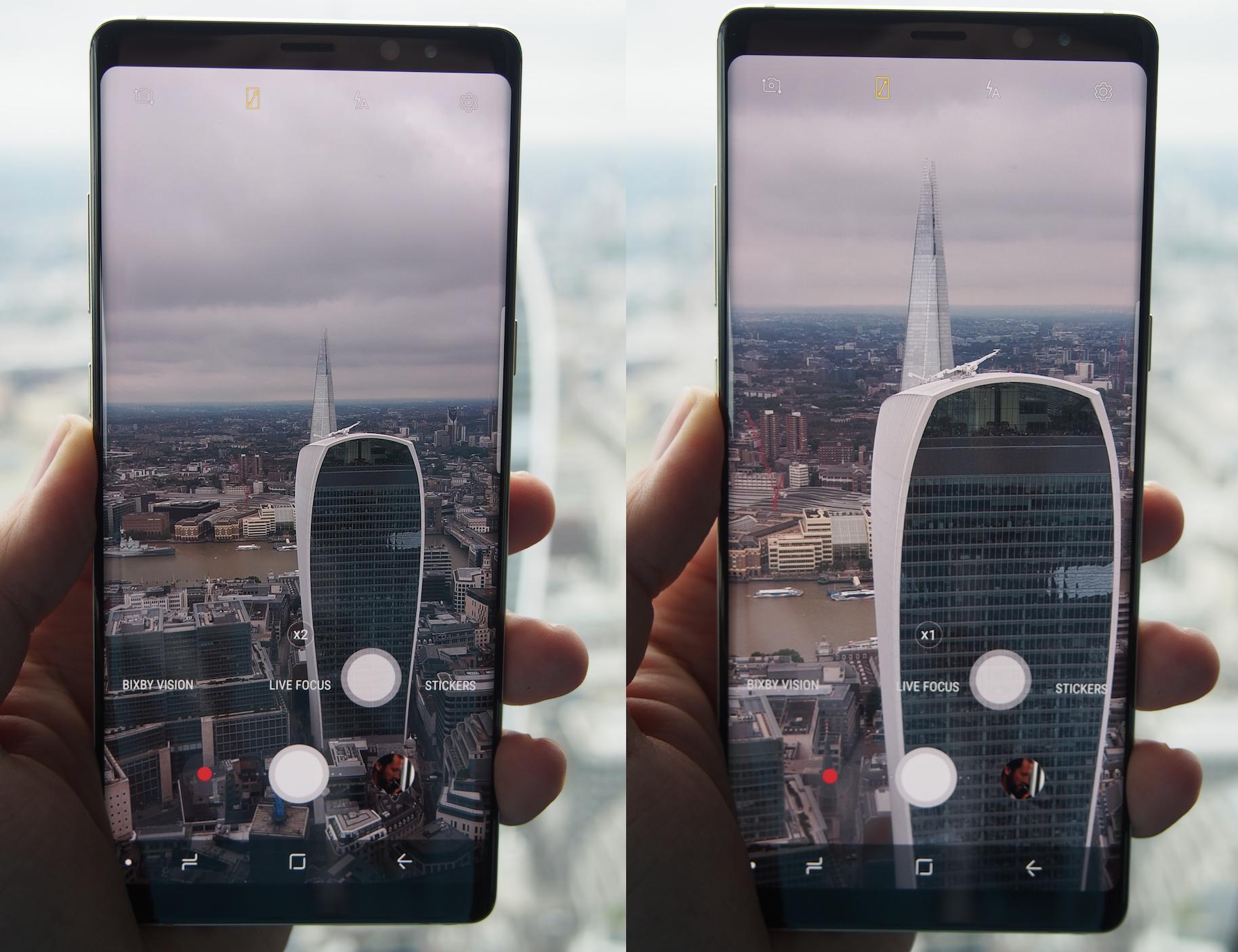 Galaxy Note8:ssa on 2x optinen zoom.