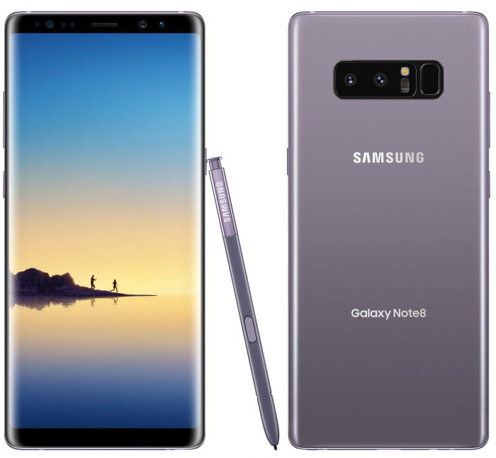 Samsung Galaxy Note8 Orchid Gray -värissä. Evan Blassin julkaisema kuva.