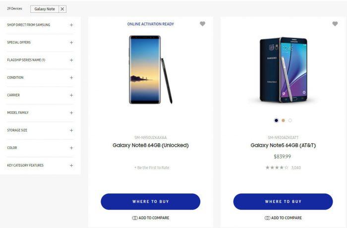 Galaxy Note8 vilahti jo Samsungin verkkokaupassa.