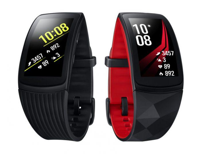 Samsung Gear Fit2 Pron kaksi värivaihtoehtoa.
