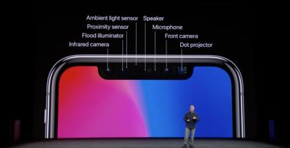 iPhone X:ssä näytön lovesta löytyy paljon eri komponentteja.