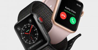 Apple Watch Series 3:n mobiiliverkkoja tukevan version erottaa vain punaisesta päästä kruunupainikkeessa.