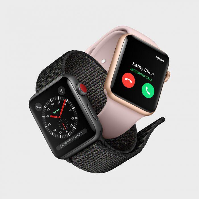 Apple Watch Series 3:n mobiiliverkkoja tukevan version erottaa ulkoisesti vain punaisesta päästä kruunupainikkeessa.