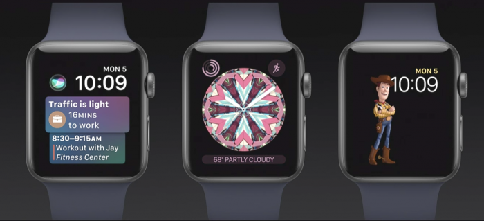 Apple Watch saa uusia kellotauluja: vaihtuvia tietoja tarjoava Siri-kellotaulu, Kaleidoskooppi-kellotaulut ja Toy Story -hahmot.